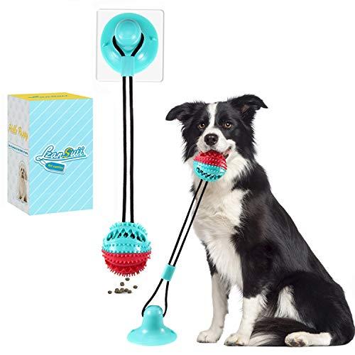 Lzansuii perros Juguete de masticar, con ventosa fija campana pequeña incorporada (con 1 adhesivo con ventosa), bola dispensadora de alimentos para perros gatos cuidado dental dlimpieza diente