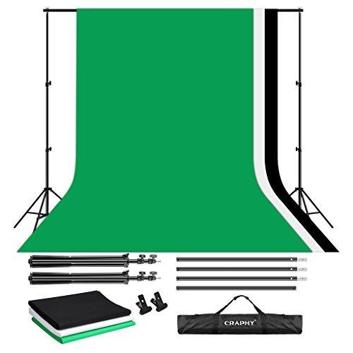 CRAPHY Hintergrund Set, 2x3m Hintergrundsystem mit 3x Hintergrundstoff für Greenscreen