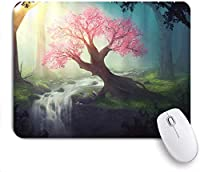 印刷されたマウスパッドファンタジー森魔法の風景滝クリーク流れるピンクの木の霧の森日光を楽しむ、ゲームプレーヤーのオフィスのための装飾的なマウスパッド、机の装飾、9.5x7.9インチ