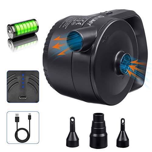 LIUMY 2-1 AKKU-Luftpumpe mit USB-Ladekabel, Elektrische Luftpumpe für Luftmatratze,...