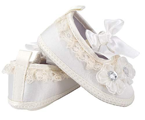 EANAGO Süßer Weicher Baby-Hausschuh, weiß, aus Seide und Baumwolle, z.B. für Taufe oder Hochzeit,3 Größen (weiß, Numeric_22) (6_Months)
