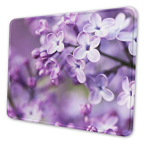 Gaming Mouse Pad - Purple Flowers Rectangle Rubber Mousepad - 7 X 8.6 in X 0.12''(3mm Thick) Mouse Mat for Gift Support Wired Wireless Or Bluetooth Mouse
