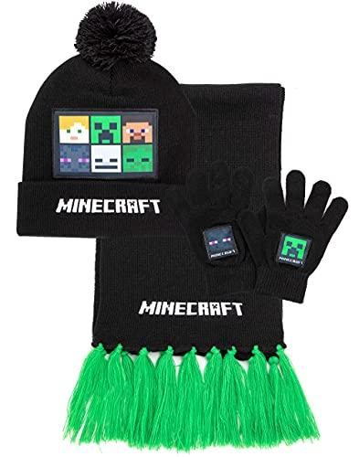 Minecraft Kids Bobble Hat Gloves Scarf Set Heched Black Beanie Un tamaño