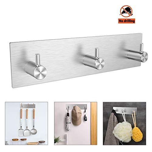 NEEGO Adhesivos Gancho de Toalla Ganchos Adhesivos 304 Acero Inoxidable Ganchos de Pared, Impermeable Resistente Toallero para baños Cocina (3 Ganchos)