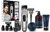 Braun MGK7220 Recortadora 10 en 1, set de depilación corporal y cortapelos para hombre + King C. Gillette Gel Limpiador para Barba y Rostro + Bálsamo para Barba + Gel de Afeitar Transparente