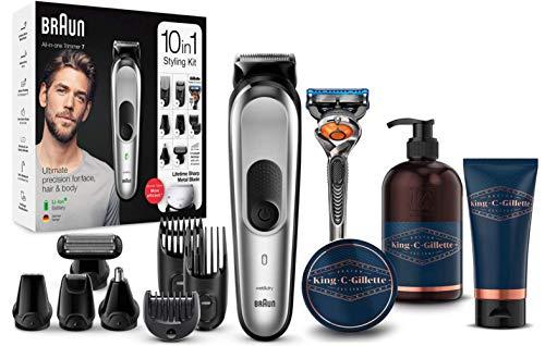 Braun Recortadora MGK7220 10 en 1,  set de depilación corporal y cortapelos para hombre + King C. Gillette Gel Limpiador para Barba y Rostro + Bálsamo para Barba + Gel de Afeitar Transparente