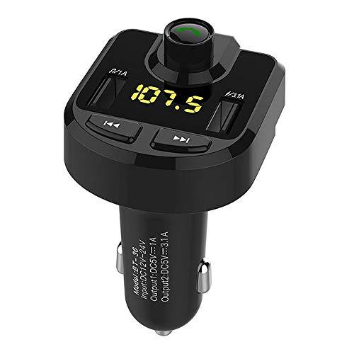 Alecony Bluetooth FM Transmitter, Auto Radio Transmitter Freisprecheinrichtung KFZ Audio Adapter MP3 Player, Auto Ladegerät mit Dual USB Port LED Anzeige, Unterstützt U Disk & TF Karte