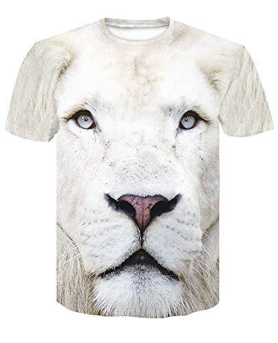 XIAOBAOZITXU T-Shirt Mannen En Vrouwen Mode Grote Maat Sweatshirt Unisex Paar Kostuum Witte Leeuw Slim Fit Cool Grappig Zomer T-Shirt