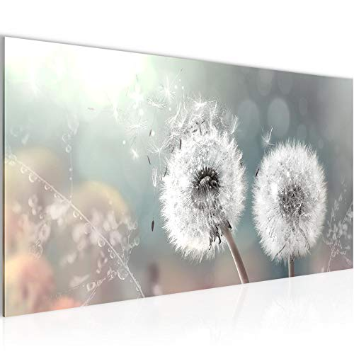 Wandbilder Pusteblume Modern Vlies Leinwand Wohnzimmer Flur Blumenwiese Türkis Grau 023612b