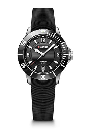 Wenger Seaforce Small - 35 mm, schwarzes Zifferblatt, Gummiarmband Uhr für Herren
