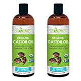 Sky Organics USDA Organic Castor Oil Cold-Pressed 100% Pure, Hexane-Free Castor Oil - Moisturizing & Healing, For Dry Skin, Hair Growth - For Skin, Hair Care, Eyelashes - Castor Oil, 1 lb (Pack of 2)