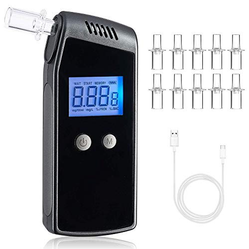 Breathalyzer, FFtopu Professional Alcohol Tester with USB Rechargeable Portable LCD Digital Display Breath Alcohol Tester and10 Mouthpieces
