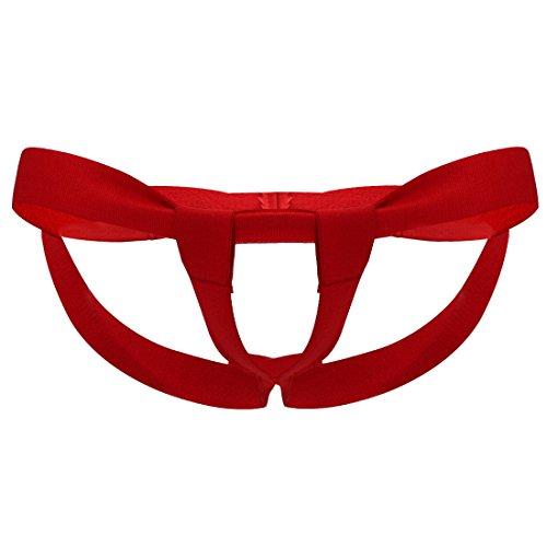 winying Herren Bandage G-String Offener Schritt Tanga String mit Penis Schlaufe Elastische Unterwäsche Low Rise Slip Rot One Size