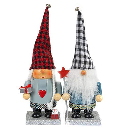 FUNPENY 11' Christmas Decorative Nutcracker, 2 Set Handmade Wooden Gnome Plush Scandinavian Swedish Tomte, Elf Toy Holiday Present, Festive Collectible Nutcracker, Tabletop Christmas Decorations