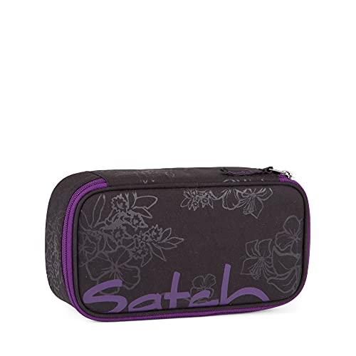 Satch Schlamperbox - Mäppchen groß, Trennfach, Geodreieck - Purple Hibiscus - Schwarz
