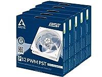 【5パック】ARCTIC P12 PWM PST - 120 mm ケースファン PST付き 圧力最適化 静音モーター コンピュータ ファン速度 200-1800 RPM - ホワイト/透明 (P12 Series, P12のPWM PST-ホワイト/透明-5個パック)