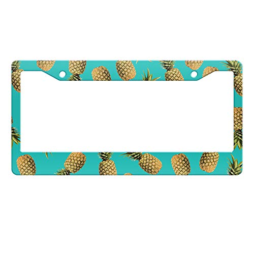 WIRESTER Printed License Plate Frame Decoration Cover for Car Truck SUV Vehicle - Design Paradise Pineapples