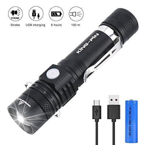 Linterna LED Recargable Zoomable Ajustable Linterna