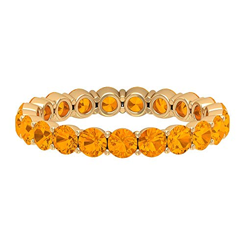 2.50 CT Lab Created Orange Sapphire Eternity Ring (AAAA Quality), 14K Yellow Gold, Size:UK H1/2