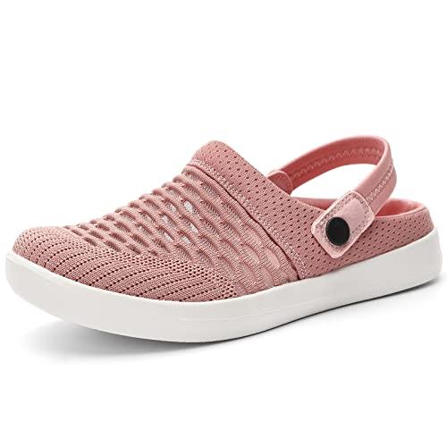 HKR Damen Clogs Hausschuhe Atmungsaktiv Pantolette rutschfest Gartenschuhe Sommer Sandalen Crimson/EU 40 thumbnail