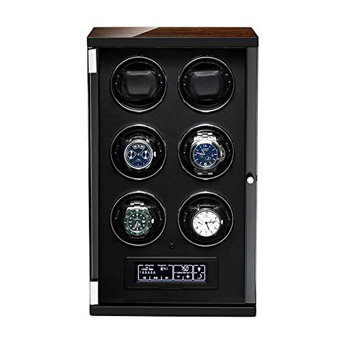 ZNND Enrollador Reloj Automático Caja con Panel Táctil y Pantalla Visualización Control Remoto Almohadas Reloj Ajustables Motor Silencioso (Color : Black, Size : 6+0)