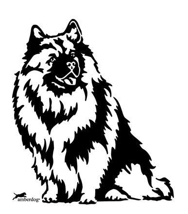 amberdog Wolfspitz autosticker raamfolie art.nr.AT0229 sticker voor auto camper caravan autosticker