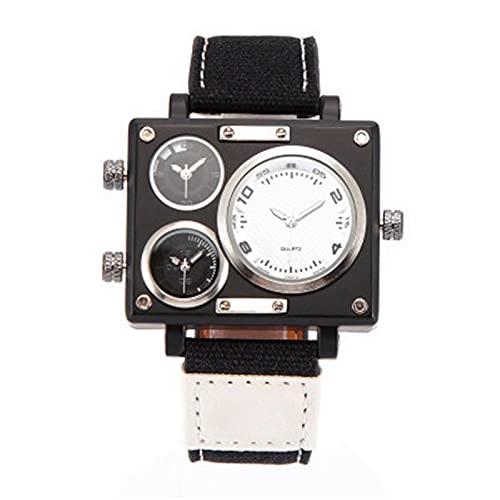 BBZZ Reloj para Hombres con Calendario perpetuo de Acero Inoxidable de Acero de Cuarzo Reloj de Negocios,Blanco
