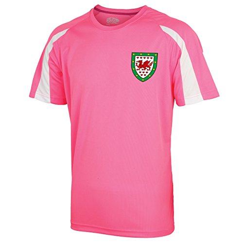 personnalisable Rose et blanc style Maillot de football du Pays de Galles – Enfants Filles (Rose, Medium)