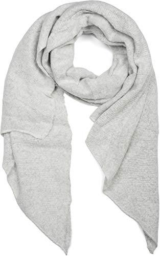 styleBREAKER Damen weicher unifarbener Web Schal in asymmetrischer Form, Winter, Stola 01017118, Farbe:Hellgrau