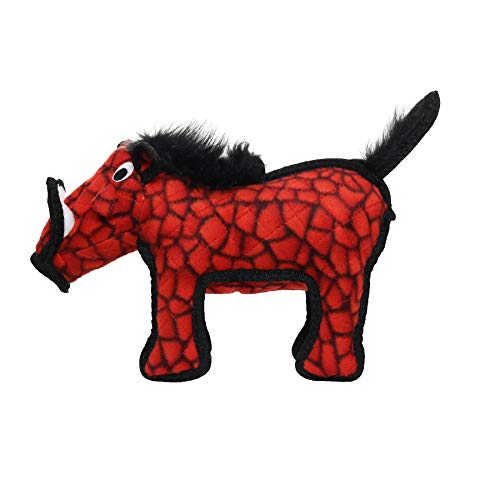 TUFFY - World's Tuffest Soft Dog Toy - Desert Warthog - NO Squeakers - Multiple Layers. Made Durable, Strong & Tough. Interactive Play (Tug, Toss & Fetch). Machine Washable & Floats. (Red)