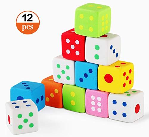 Neuheit Radiergummi Würfel für Kinder Mitgebsel Briefpapier Geschenk Spielzeug, 12 Stück