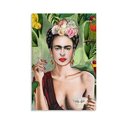 WSDSB Póster de Frida Kahlo retro de arte estético de Frida Kahlo para pared, impresión artística moderna, para decoración de dormitorio familiar, 50 x 75 cm