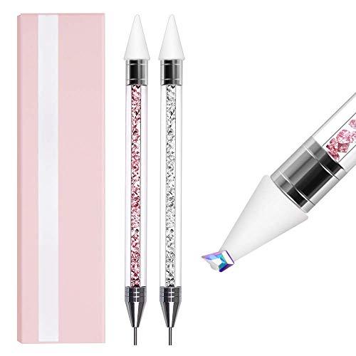 Coccinelles Strass Picker Dotting Pen, 2 Pièces Strass CriDILISENux Goujons Gemmes Picker Cire Stylo Crayon Perles en CriDILISENl Poignée Manucure Double-Nail Nail Art DIY Décoration Outil