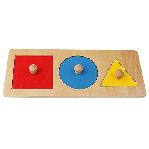 Sharplace Montessori Spielzeug: Bunte Geometrische Körper + Holzbrett Set - Mehrfarbig