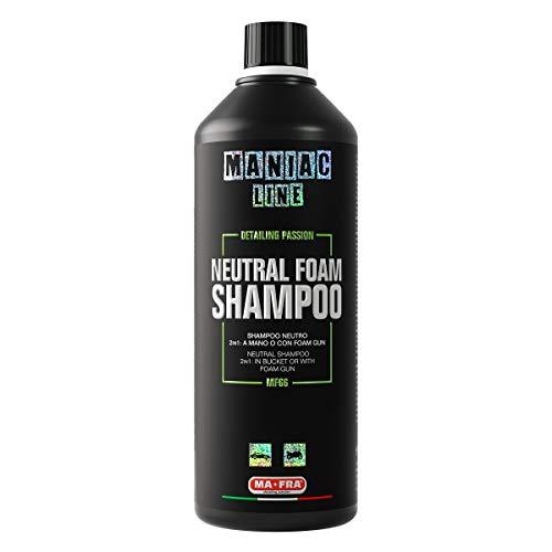 Mafra, Maniac Car Detailing Line, Neutral Foam Shampoo, Shampoo Neutro 2in1, Applicazione Manuale con Tecnica 2 Secchi o Prelavaggio con Foam Gun, 1000ml