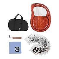 Rakuby1 ハープ リラ ライアー 16弦 金属弦 マホガニー木製 弦楽器 キャリーバッグ付き 5点セット
