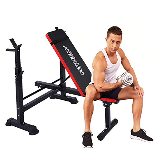 Adjustable Weight Bench Incline Seat Multi-Function Folding weight benches Fitness Workout Barbell Rack for Strength Training Home Gym (Drakred)