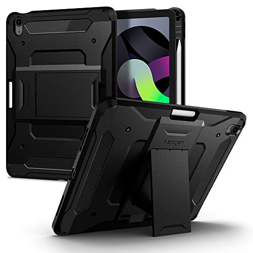 Spigen Tough Armor Pro Designed for iPad Air 4th Generation 10.9 inch Case Cover with Pencil Holder/Built-In Stand (2020) - Black