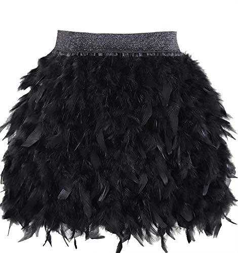L'VOW Damen Gothic Federn Rock Mini Elastische Taille Federrock Karneval Kostüm (Schwarz, S)