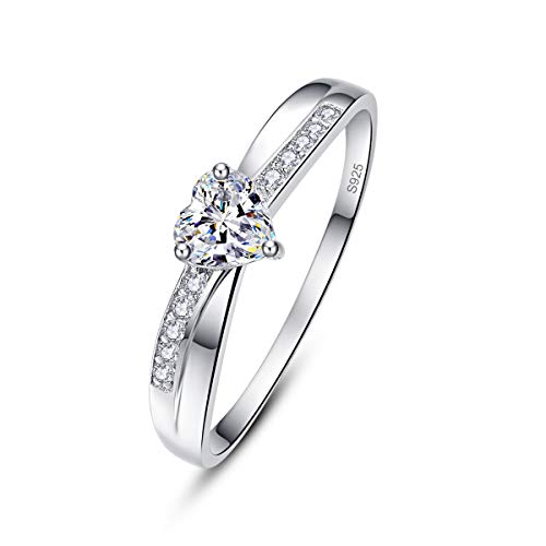 AVECON Women's Promise Rings for Her 925 Sterling Silver Love Heart Cut CZ Solitaire Engagement Rings Band Unisex Size T 1/2