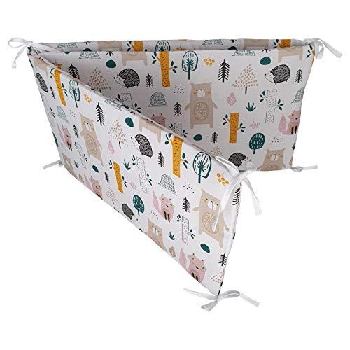 BELLO - Baby Nestchen für Babybett Gemustert | Bettnestchen für Kinderbett 120x60 oder 140x70 | Nestchen für Baby- und Kinderbetten (Bett 70x140-210cm, Waldtiere)