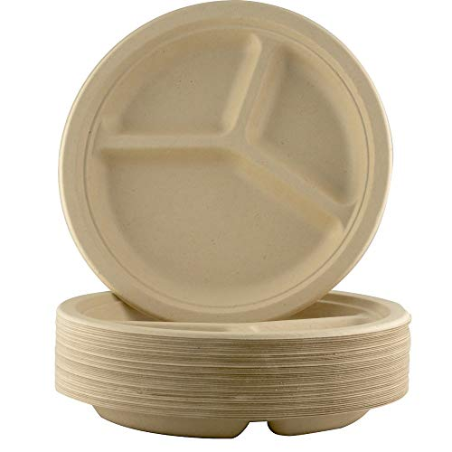 Restaurant-Grade, Biodegradable 9 Inch 3-Compartment Plates. Bulk 100 Pk. Great for Lunch and Dinner Parties. Disposable, Compostable Wheatstraw Divided Plates are Leakproof and Microwave Safe.