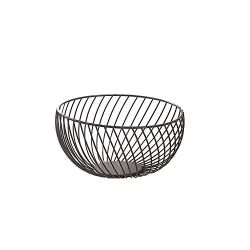 Metal Wire kitchen countertop fruit basket bowl,Fruit Dish Round Fruit Basket,Metal Wire Fruit Basket for Living Room, Kitchen, Countertop, Black
