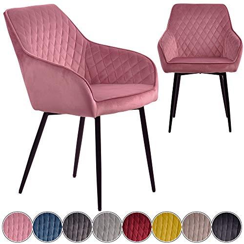 iomangio® Esszimmerstühle 2er Set | Pink Esszimmerstuhl mit Armlehne Küchenstuhl | Polsterstuhl Design Stuhl mit Rückenlehne, mit Sitzfläche aus Samt/Stoffbezug | Gestell aus Metall | Samt Stühle