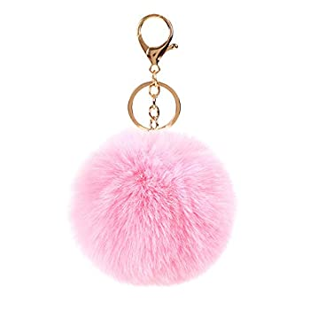 Rabbit Fur Fuzzy Plush Ball Keychain Soft Furry Cute Pom Pom Key Ring for Women