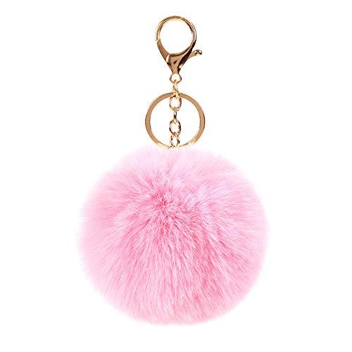 Fusicase Rabbit Fur Fuzzy Plush Ball Keychain Soft Furry Cute Fluffy Pom Pom Key Ring for Women Girls Fashion Luxury Cute Bag Accessory Pendant Key Ring Pink