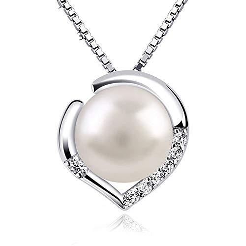 Cestbon Perle Halskette Kette Damen Anhänger 925 Silber Schmuck Set Süßwasserperlen, Weiß