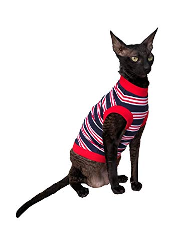 Kotomoda Cat wear Camiseta Azul Oscuro-Rojo-Blanco Rayas (L)