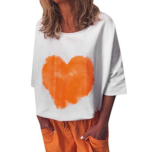 HebeTop Womens Casual Lapel Neck Heart Print T-Shirt Short Sleeve Buckle Blouse Tops White