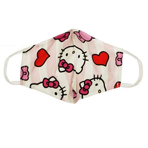 VialeShoes Anatomische Maske aus Baumwolle, Futter aus Baumwolle, waschbar und wiederverwendbar, für Mädchen, weiß und rosa mit Hello Kitty, Einheitsgröße